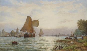Vessels on a Dutch Estuary, George Stanfield Walters