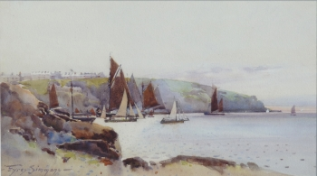 Fishing fleet Leaving Polruan, Cornwall, Eyres Simmons