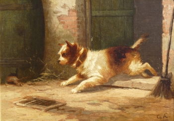Terrier Chasing a Rat, George Armfield