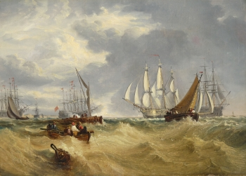 Spithead, Two Captured Danish Ships Entering Portsmouth Harbour (after Turner), Clarkson Stanfield