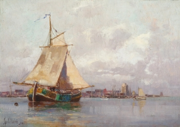 Dutch Boats off Dordrecht, George Charles Haité