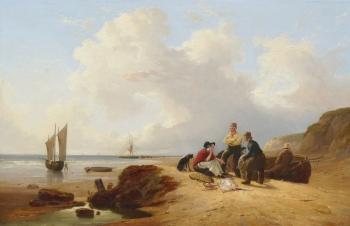 Fisher Folk with their Dog on a Beach, John F. Tennant