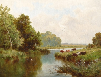 Cattle Grazing by a Riverbank, Henry Deacon Hillier Parker