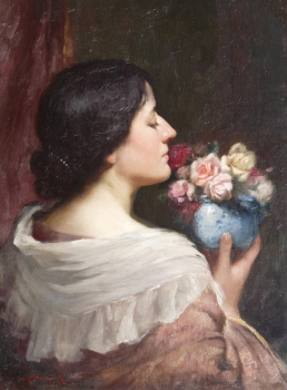 Portrait of an Elegant Lady with a Bowl of Roses, William Kay Blacklock