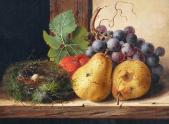 Still life, Fruit and a Nest of Eggs upon a Ledge, Edward Ladell