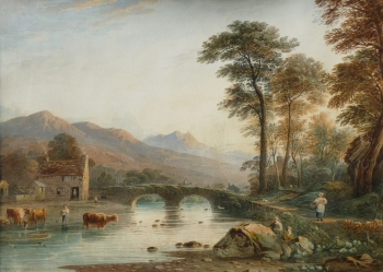 River View with Cattle & Figure, John Varley