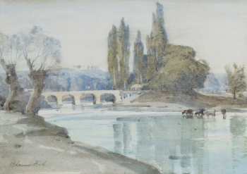 Cattle by a River, near Avignon, France, Samuel John Lamorna Birch