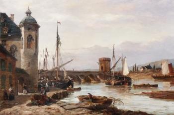 The Mosel Bridge at Coblenz, Richard Henry  Nibbs