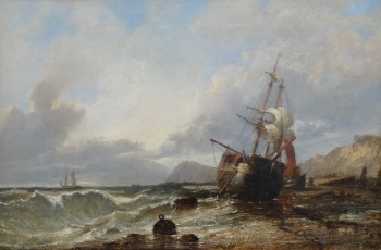 Beached Vessel Drying its Sails, Edwin Hayes