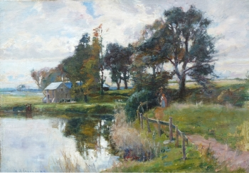 Figures on a Path by a Millpond, William Bradley Lamond