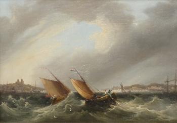 Fishing Boats in a Rough Sea, Frederick Calvert
