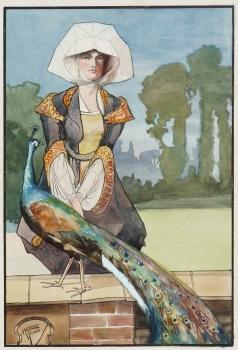 Lady with Peacock, Humphrey Feilden