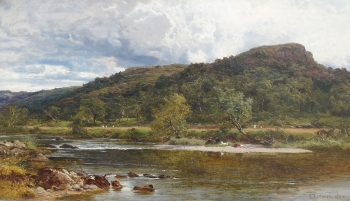 Family Picnicking by a River, Benjamin Williams Leader