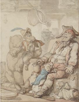 Sleeping Man with Bear, Monkey & Dogs, Thomas Rowlandson