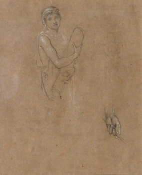 Study of a Boy holding a scroll, & study of a hand, Sir Edward John Poynter