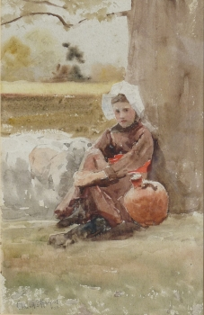 Girl Seated by a Tree, Claude Hayes