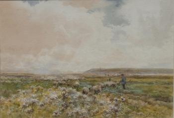 Shepherd & Flock on a Heath, Claude Hayes