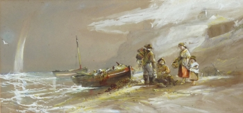 Fishermen and their Family on a Shore, George Bryant Campion