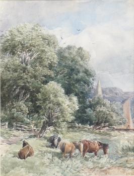 Ponies Grazing, Edmund Morrison Wimperis