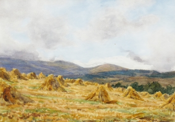 Harvesting at Fettercairn, Aberdeenshire, James Aumonier