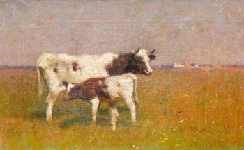 Cow and Calf in a Sunlit Meadow, Frederick Hall