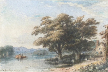 House with Trees by a Lake, John Varley