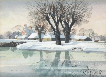 Oast Houses & Farm in the Snow, Rowland Hilder