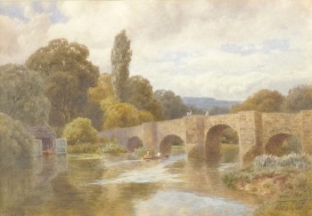 Figures Boating by a Bridge, Thomas Pyne