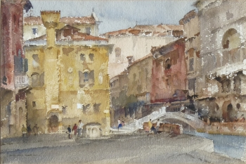 The Yellow House, Rio San Trovaso, Venice, Italy, Sir William Russell Flint