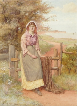 Girl Seated on a Stile, Charles Edward Wilson