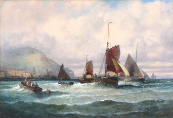 Herring boats off Scarborough, William Anslow Thornley