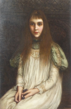 Portrait of a Girl in a Period Gown, Pre-Raphelite School