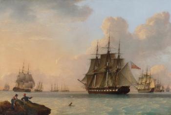 Men O'War off the Coast, John Ward of Hull