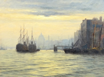 Evening on the Thames near St Paul's, Edward Fletcher