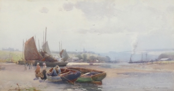 Fisherfolk & Boats on an Estuary, Hubert Coop