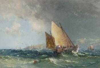 Fishing Boats off the Coast, Samuel Philips Jackson