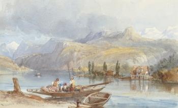 Ferry on an Alpine Lake, William Leighton Leitch