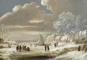 Winter Scene on a Frozen River, Dutch School