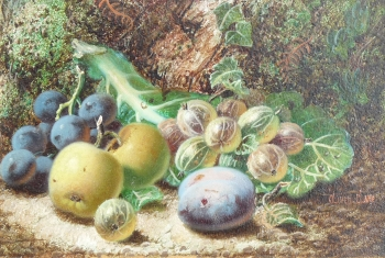 Still Life Gooseberries, Apples & Grapes, Oliver Clare