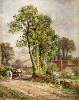 Horse & Cart on a Country Lane, James Aumonier