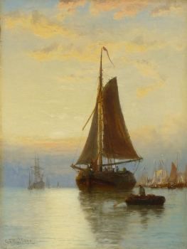 Harbour Scene at Sunrise, George Stanfield Walters