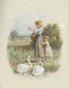 Feeding the Swans, Myles Birket Foster
