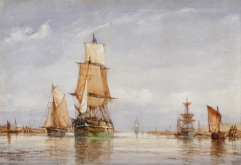 Estuary View with Sailing Vessels, Richard Henry  Nibbs