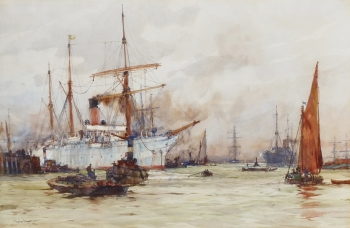 Shipping on the Thames, London, Charles  Dixon