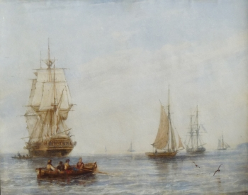 Shipping & Row Boats off the Coast, William Adolphus Knell