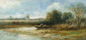 Figures Punting on a River, Joseph Thors