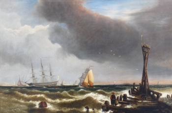 Shipping off a Pier, Edwin Hayes