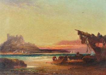 Evening after the Wreck, Bamborough Castle, Northumberland, Arthur Joseph Meadows