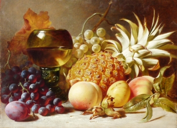 Still Life: Grapes, Peaches, Plums & Pineapple with Goblet, Edward Ladell