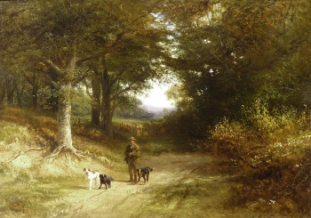 Sportsman & Dogs in a Woodland Path, George Cole